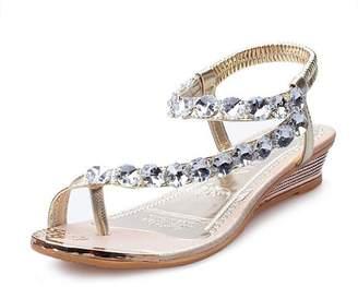 Tenworld Woman Summer Sandals Wedge Rhinestone Beach Flip Flops
