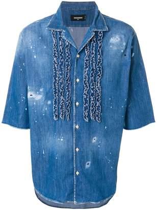 DSQUARED2 ruffle trim denim shirt