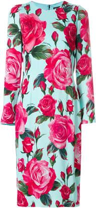 Dolce & Gabbana large rose longsleeved shift dress