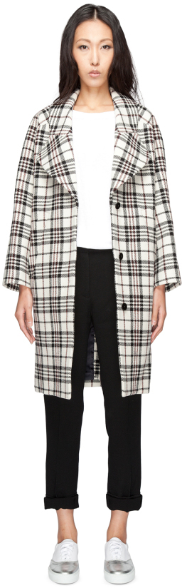 Carven CARVEN Multicolor Manteau Drap Tartan Wool Coat