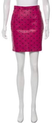 Saint Laurent Polka Dot Leather Skirt