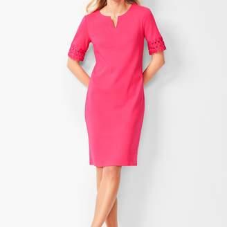 Talbots Lace-Trim Cotton-Knit Shift Dress