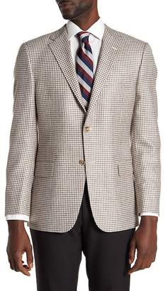Hickey Freeman Brown Check Two Button Notch Lapel Sport Coat