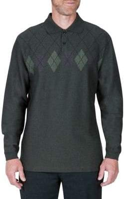 Haggar Long-Sleeve Jacquard Polo