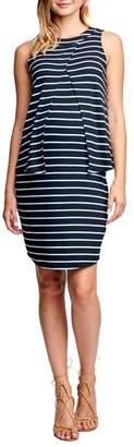 Maternal America Sleeveless Front Drape A-Line Maternity Dress