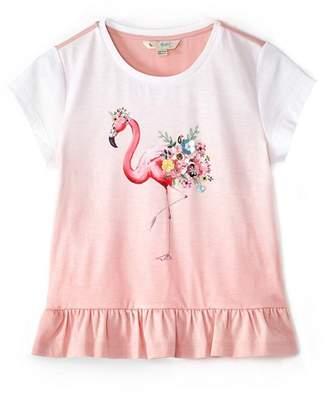 Yumi Girl - Girl Light Pink Flamingo Print Ombre T-Shirt