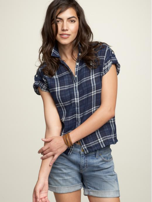 Plaid roll-up sleeve shirt