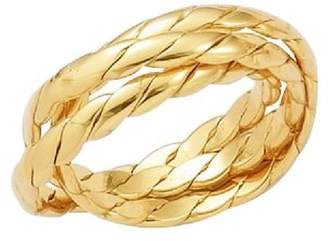 So Chic Jewels - 18k Gold Plated 3 Piece Plaited Russian Wedding Ring - Size 9