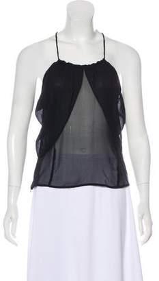 CNC Costume National Semi-Sheer Cold-Shoulder Top