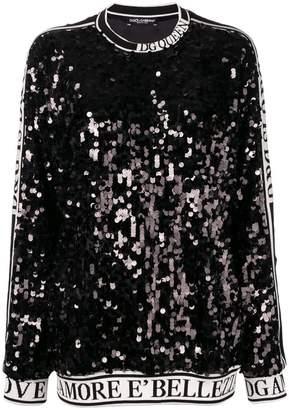 Dolce & Gabbana sequin slogan sweatshirt