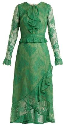 Erdem Meg Ruffle Trimmed Lace Dress - Womens - Green