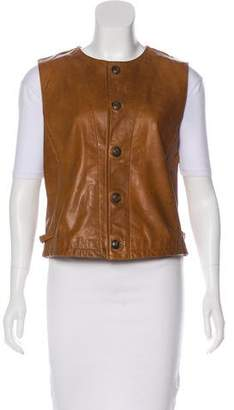 Ralph Lauren Button-Up Leather Vest