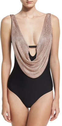 Luxe by Lisa Vogel Chain Reaction One-Piece Swimsuit, Black $154 thestylecure.com