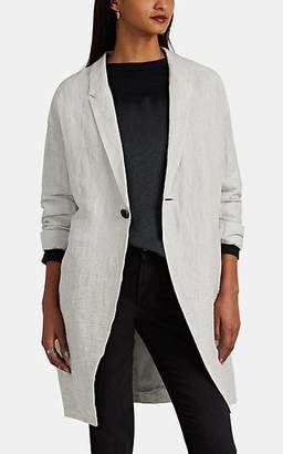 Pas De Calais Women's Slub Linen-Blend Cocoon Coat - Light Gray
