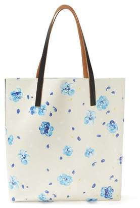 Marni Floral Print Leather Tote - Womens - Blue Multi