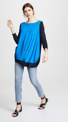 Zero Maria Cornejo Colorblock Off Shoulder Bubble Top
