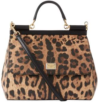Dolce & Gabbana Large Leather Leopard Spot Sicily Bag