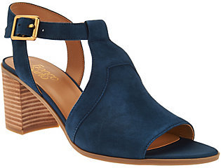 As Is Franco Sarto T-strap Sandals w/ Adj. Ankle Strap - Heron $45 thestylecure.com