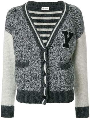 Saint Laurent flecked varsity cardigan