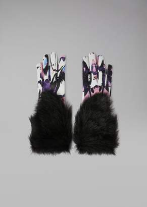 Giorgio Armani Leather Gloves With Floral Pattern And Faux Fur Trim