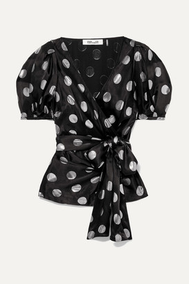 79c12cbf45f89c Diane von Furstenberg Larryn Embroidered Polka-dot Silk-blend Blouse - Black