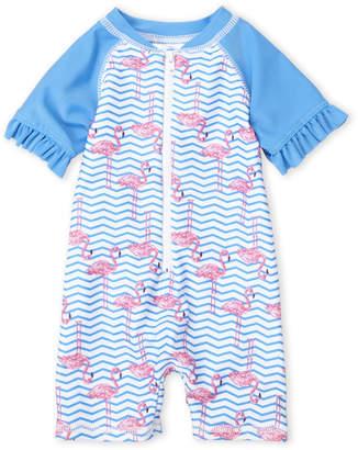 Baby Essentials Sol Swim (Newborn Girls) Zigzag Flamingo Swim Romper
