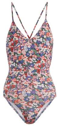 Ephemera - Liberty Classic Laced Back V Neck Swimsuit - Womens - Blue Multi