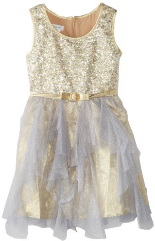 Bonnie Jean Girls 7-16 Sequin Bodice with Cascade Ruffle Skirt