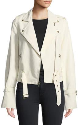 Paige Rhoda Zip-Front Twill Moto Jacket