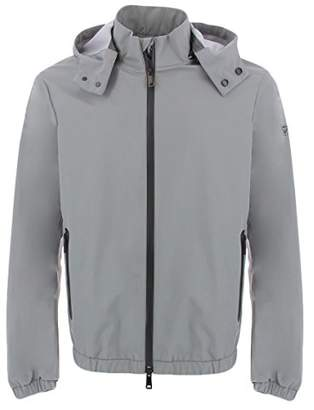 Armani Jeans Men's Hooded Rain Jacket with Waterproof Zipper and Taped Seams