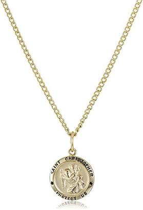 14k -Filled Small Round Saint Christopher Pendant Necklace with Plated Stainless Steel Chain