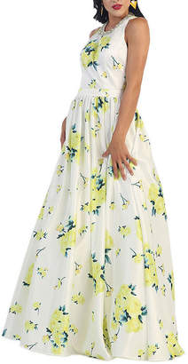 Asstd National Brand Sleeveless Floral Print Evening Gown With Pockets