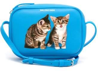 Balenciaga Everyday Camera Xs Kitten Print Cross Body Bag - Womens - Blue Multi