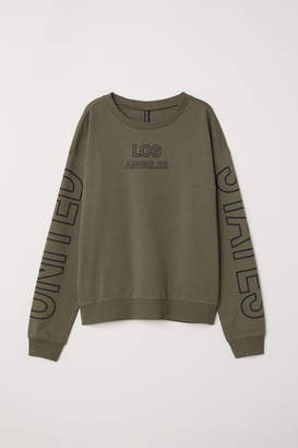 H&M Sweatshirt with Printed Design - Green