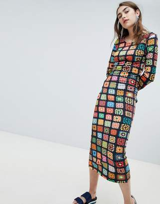 House of Holland Exclusive Crochet Print Midaxi Dress