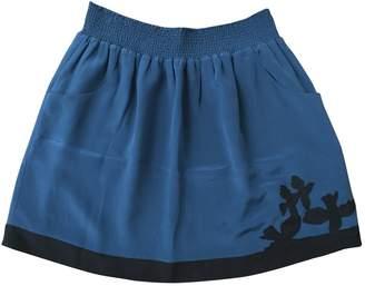 Bel Air Blue Silk Skirt for Women