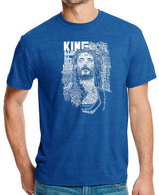 LOS ANGELES POP ART Los Angeles Pop Art Men's Big & Tall Premium Blend Word Art T-Shirt - Jesus