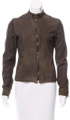 Dolce & Gabbana Leather Zip Front Jacket