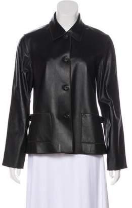 Rozae Nichols Button-Up Leather Jacket