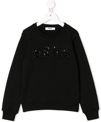 MSGM Kids beaded logo sweatshirt