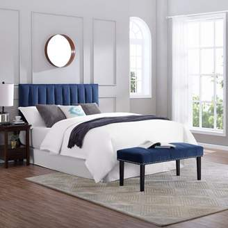 HomeFare Channeled Upholstered Full / Queen Headboard and Bench Set in Sapphire Blue
