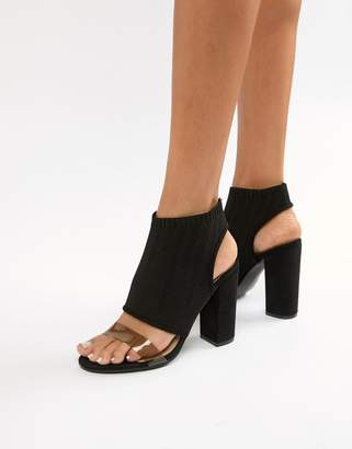 PrettyLittleThing clear strap cut out block heeled sandals in black