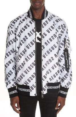 Versace Diagonal Mirror Logo Reversible Bomber Jacket