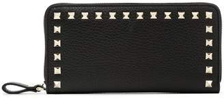 Valentino black rockstud zipped leather wallet