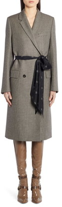 Fendi Logo Belt Wool Coat