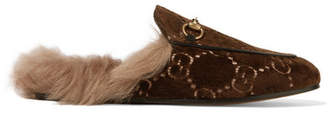 Gucci Princetown Horsebit-detailed Shearling-lined Logo-jacquard Slippers - Brown