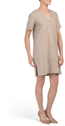 Theory Linen Side Slit Shift Dress