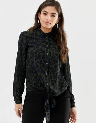 Brave Soul Emma leopard print shirt with tie front