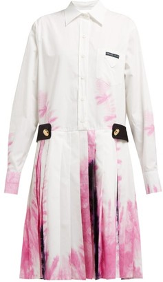 Prada Tie Dye Cotton Shirtdress - Womens - White Multi