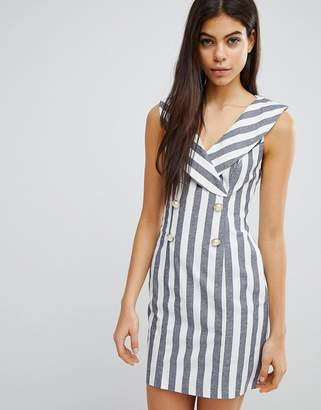 Asos DESIGN Stripe Mini Tux Dress